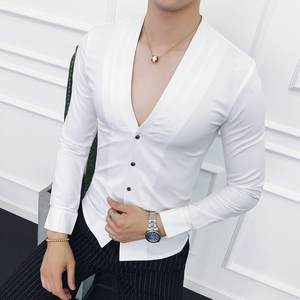 British Shirt Casual-Boutique Solid-Color Long-Sleeved High-Quality Business Men Fashion