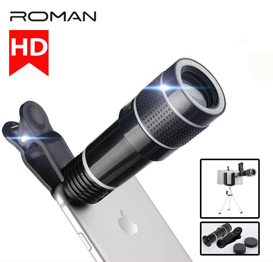 ROMAN 20X Telescope Zoom Mobile Phone Lens Universal Clip Telefon Camera Lentes With Tripod For iPhone 7 8 x xs Huawei  p20 pro