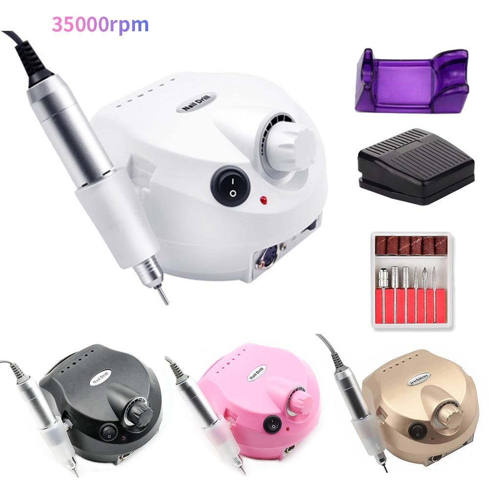 35000rpm 20W Electric Manicure Pedicure Machine Nail Drill Machine Milling Cutter Accessories Nail File Drill Bit Nail Tool Kit