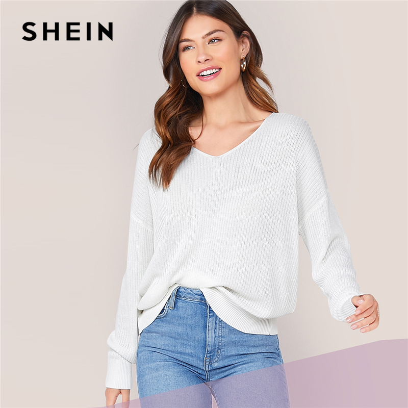 SHEIN White Solid V Neck Drop Shoulder Knit Sweater Women Tops 2019 Autumn Long Sleeve Casual Basic Office Ladies Sweaters