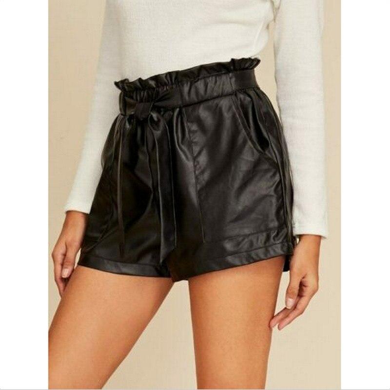 Vintage Black Womens Shorts Ladies PU Leather Wet Look High Waist Elastic Waist Solid Color Pocket Belt Paper Bag Pants Shorts