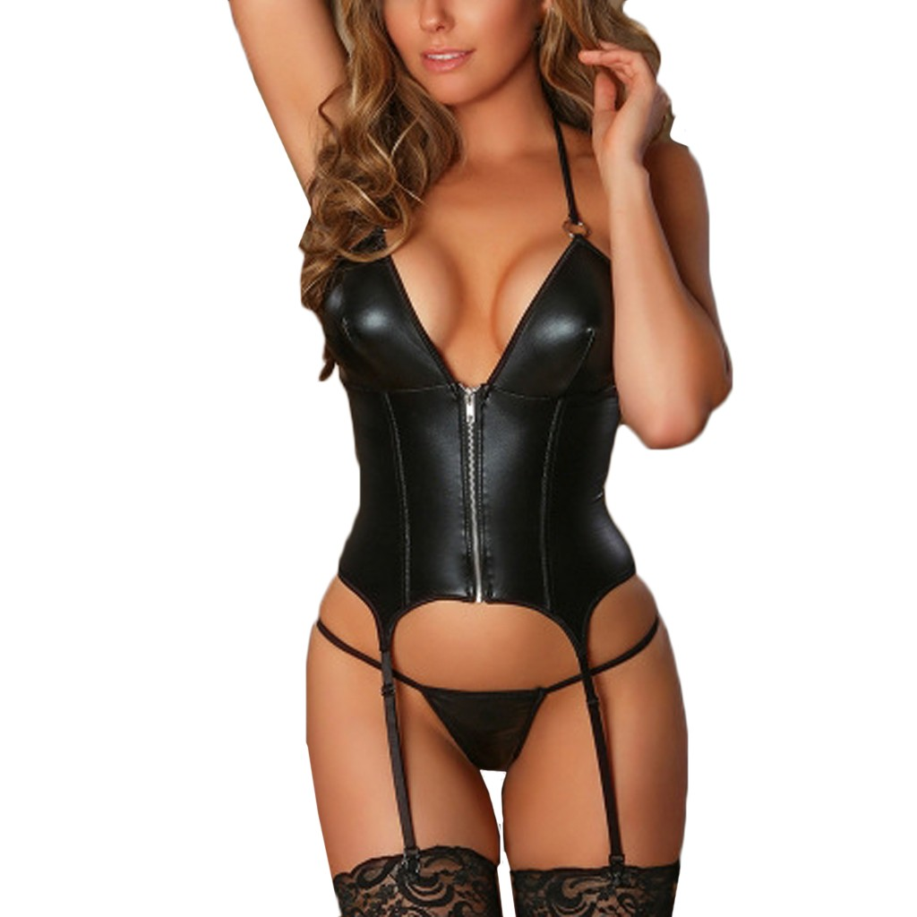 Erotic Costumes Babydoll Sexy Leather Lingerie Women Zipper Sexy Underwear Thong With Garter Lenceria Set Porno Teddy Sex Corset