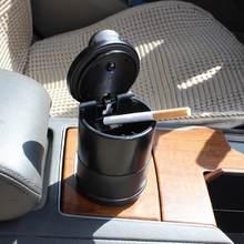 Cinzeiro do carro led liga bandeja de cinzas copo plástico portátil sem fumaça auto cinzeiro chama-retardador cigarro titular caixa acessórios
