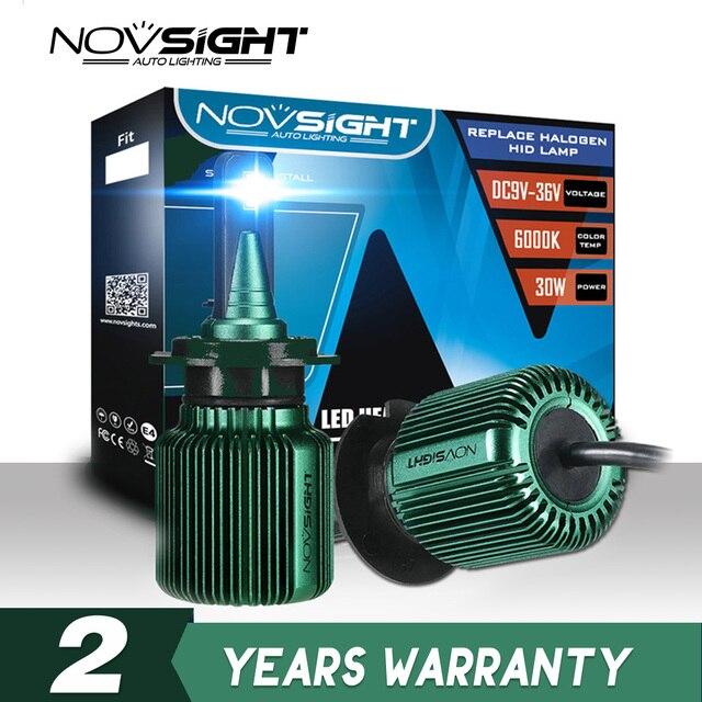 NOVSIGHT 2pcs טורבו led רכב אור h4 h7 h11 h8 led הנורה 6500k 12v 24v 10000lm IP68 עמיד למים סופר led רכב פנס נורות