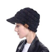 Новинка, козырьки шляпы для женщин, модная Женская Зимняя шерстяная теплая шапка Skullies, вязаная шапка Newsboy, мех кролика, шляпа сомбреро