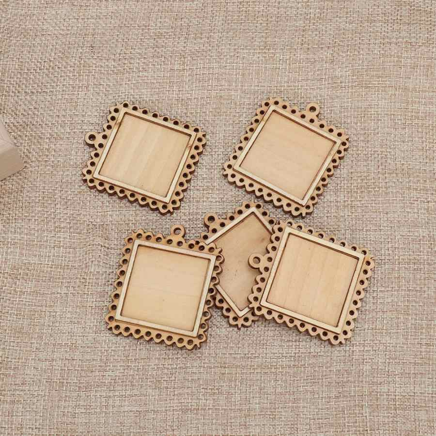 5pcs Wooden Rectangle Setting Emboss Blank Base Small Wooden Photo Frame Keychain Trays Picture DIY Wall Photo Frame Poster