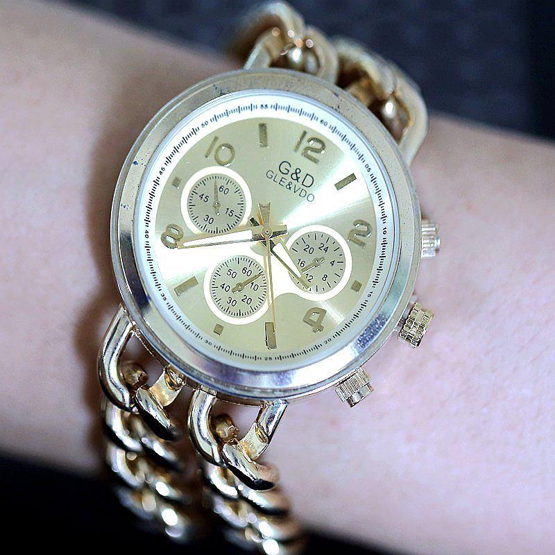 quartzo relógio analógico vestido bronze pulseira pulso feminino relógio casual