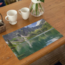 Landscape Pattern Table Mat Cotton-linen Anti Slip Waterproof Kitchen Tool Mats Solid Placemat for Decor Home