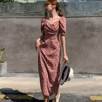 Casual Summer Female Long Dress Flower Short Sleeve Holiday Boho Beach Dress Women 2020 Square Collar Vintage Dress Vestidos isiksus striped maxi dress shirt women vintage female long sleeve summer casual dresses black beach dress for women dr092