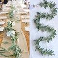 155 см искусственные растения эвкалипта гирлянда Роза ротанга листья гирлянда поддельные растения домашний декор лозы венок вертикальный с...