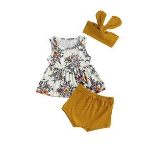 FOCUSNORM lato piękne dziewczynek chłopców ubrania ustawia kwiaty druku rękawem góry od sukienek stałe spodenki