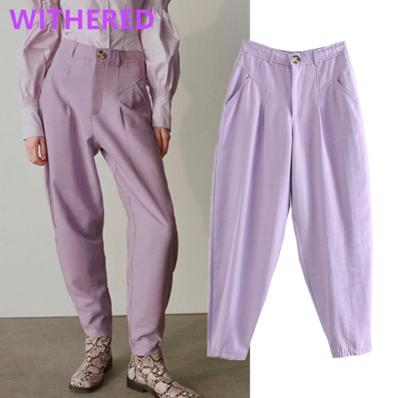 Withered Enlgand High Street Vintage Purple Color Loose Harem Turnip Pants Women Pantalones Mujer Pantalon Femme Trousers Women