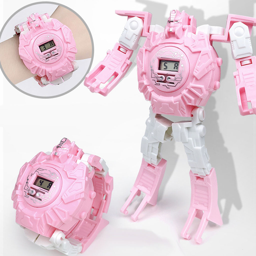 Educational Pink Watch Robot 2020 Fashion Ai Style New Toy Children\'S Cartoon Electronic Watch Cool Deformation Robot Watch Toy