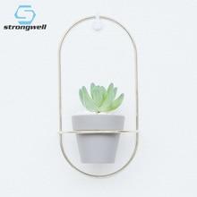 Strongwell Nordic Ceramics Flower Pot Iron Frame Flowerpot Garden Art Wedding Home Decoration Accessories Tabletop Gift