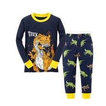 Baby Kinder Pyjamas Sets Baumwolle Jungen Nachtwäsche Anzug Herbst Cartoon Dinosaurier Pyjamas Langarm Pijamas Tops + Hosen 2 stücke tier Pjs