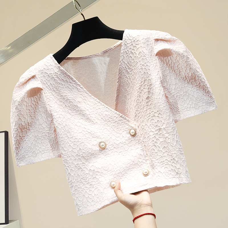 2020 Summer Korean Style Double Breasted Graceful Shirt Jacket Women's All-match Slim Short Navel Puff Sleeve Top Lady Blouses
