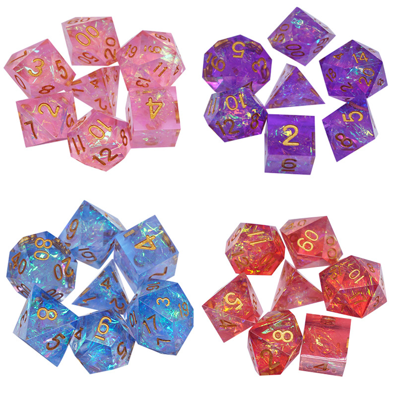 New Dnd dice set Upscale Resin Transparent Sharp Corner Polyhedral Dice 7pcs/Set rpg dice dadi dados rol D4 D6 D8 D10 D12 D20