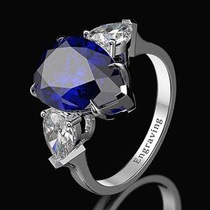 Image 2 - Wong Rain 100% 925 Sterling Silver Pear Created Moissanite Aquamarine Gemstone Wedding Engagement Ring Fine Jewelry Wholesale