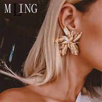 MLING Vintage Gold Silver Alloy Earrings New Fashion Big Flower Stud Earrings For Women