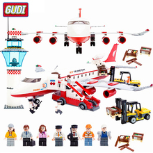 GUDI Legoingly  Large Passenger Plane Airplane Block Assembly Building Blocks Educational Bricks Toys For Children Gift