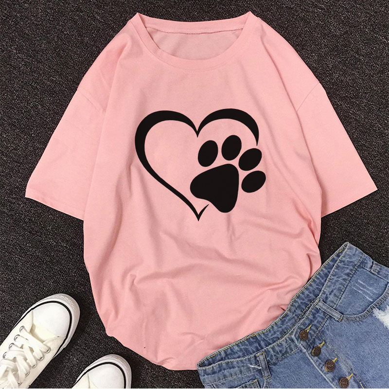 2020 Summer Casual Vintage Tshirt New Devil's Claw Cute Love Dog Paw Print T Shirt Women Fashion Top Shirt Female T-shirt Tumblr