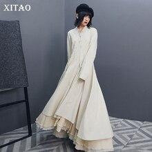 XITAO винтажное лоскутное хлопковое льняное платье на пуговицах женская одежда Модное Элегантное драпированное платье с высокой талией осеннее Новое GCC1803
