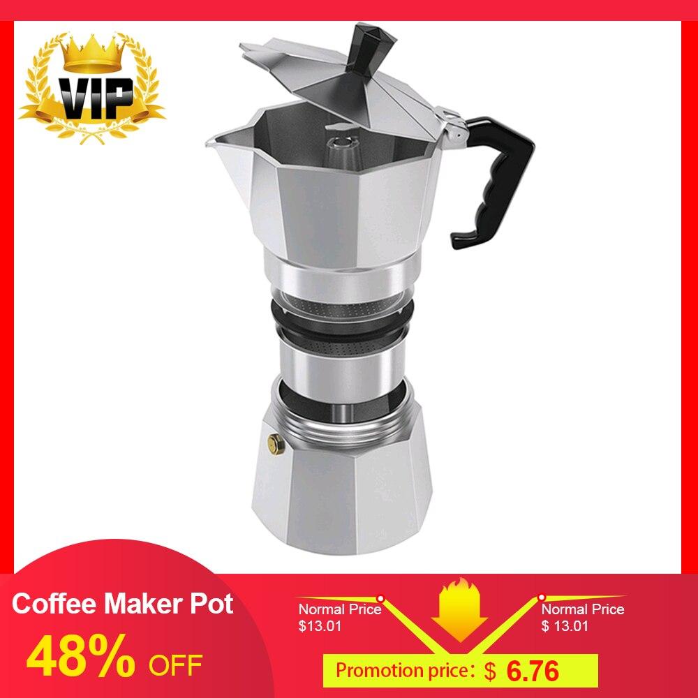 Haute qualité en Aluminium percolateur cafetière Pot pour extérieur maison bureau Camping lait eau cafetière 50/150/300/450/600ML