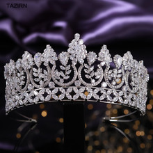 Luxury 5A Level Cubic Zirconia Wedding Bridal Tall Tiaras Queen Crown CZ Pageant Headpieces Party Prom Hair Jewelry Accessories luxury classic cz cubic zirconia wedding bridal tiara crown diadem women hair jewelry accessories s17802