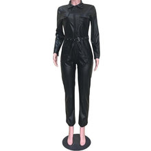 Womens Black Faux Leather Jumpsuit Turn Down Collar Long Sleeve Pu Leather Jumpsuits Bodycon Pocket Zipper Party Rompers Overall(China)