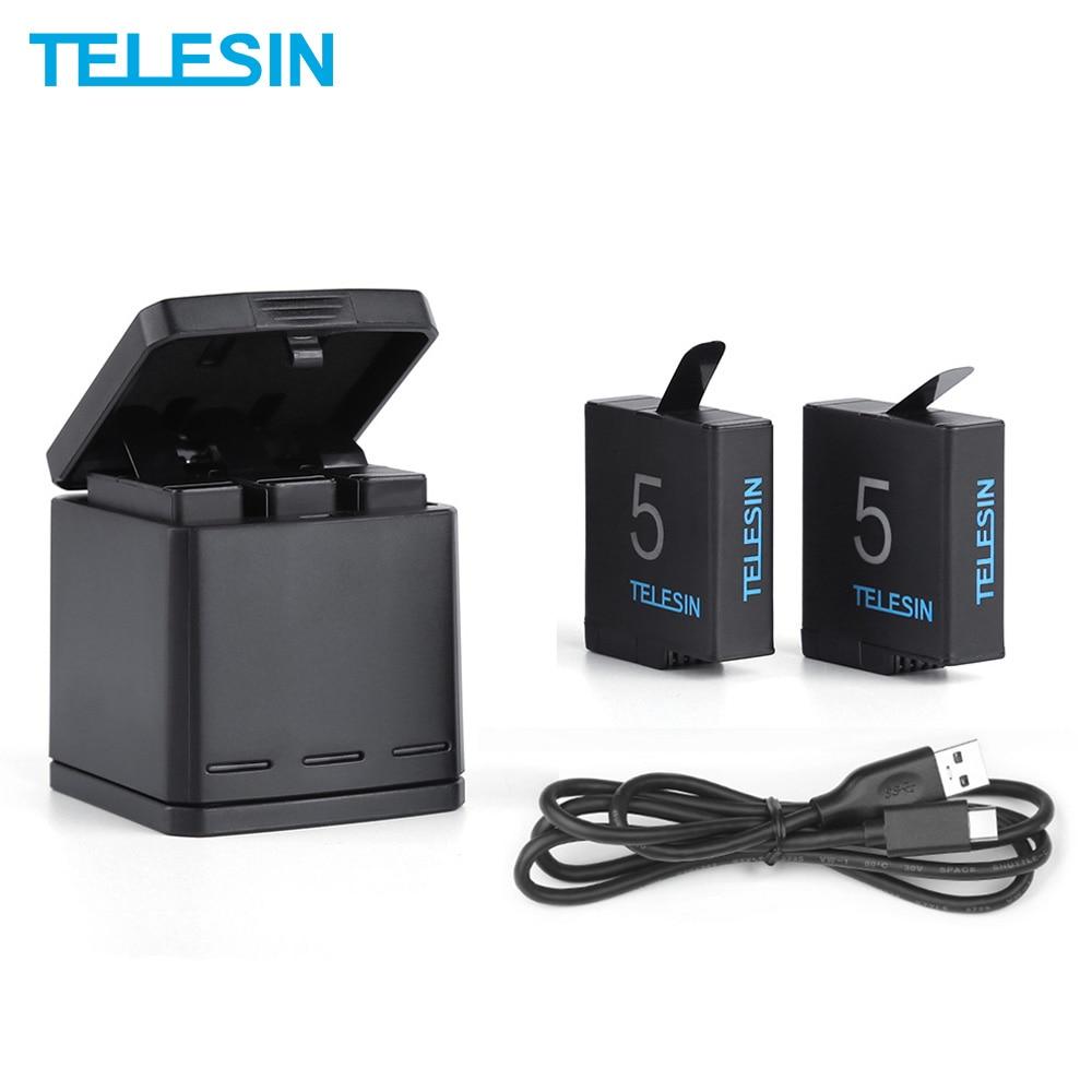 TELESIN 2 Pack batería + 3 ranuras caja de carga de batería + Cable de carga USB para GoPro Hero 5 Hero 6 accesorios de cargador Hero 7