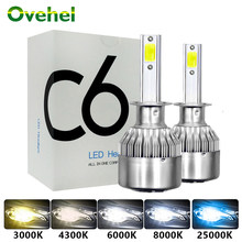OVEHEL Led Headlight Hulbs H7 LED C6 H1 H3 Car Lights H4 880 H11 HB3 9005 9006 H13 3000k 6000K 72W 12V 8000LM Auto Headlamps