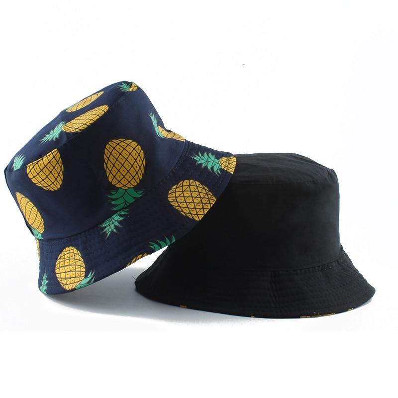 Panama Bucket Hat Men Women Summer Bucket Cap Pineapple Banana Print Fisherman Hat Bob Hip Hop Gorros Reversible Fishing Hat