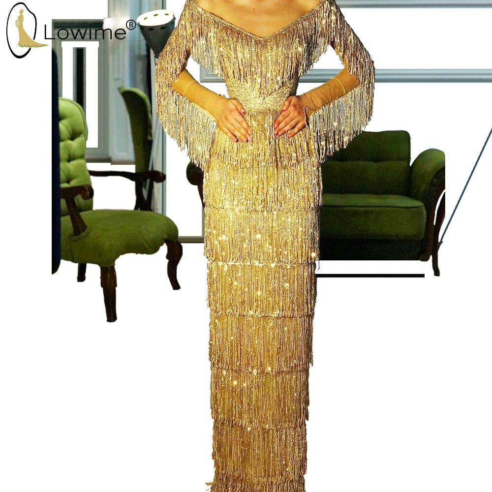 Gorgeous Golden Full Beading Evening Dresses V Neck Long Sleeve Formal Dress For Party Saudi Arabia Robes Vestido De Soiree