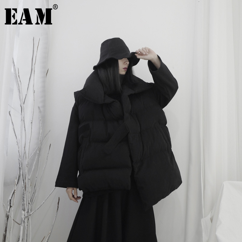 [EAM] Women Big Size Asymmetrical Cotton-padded Loose Fit Vest New Lapel Sleeveless   Fashion Tide Spring Autumn 2020 19A-a592
