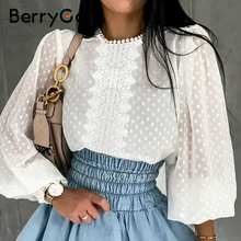 BerryGo Sexy lace woven white blouse Casual long lantern sleeve solid polka dot shirt