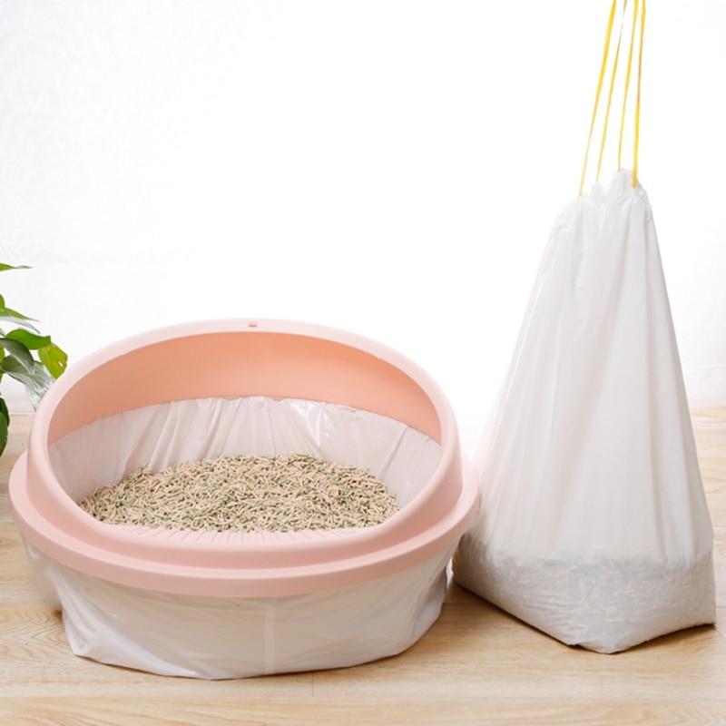 7pcs Drawstring Cat Litter Pan Bags Durable For Cat Pet Waste Poop Bags Cat Litter Toilet Garbage Bag Thickened Pet Garbage Bag