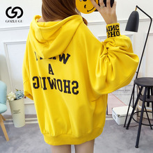 2019Hooded Pullovers Puff Sleeve Sweatshirt Women Thin Yellow Hoodie Loose female2019 New Clothes Korean