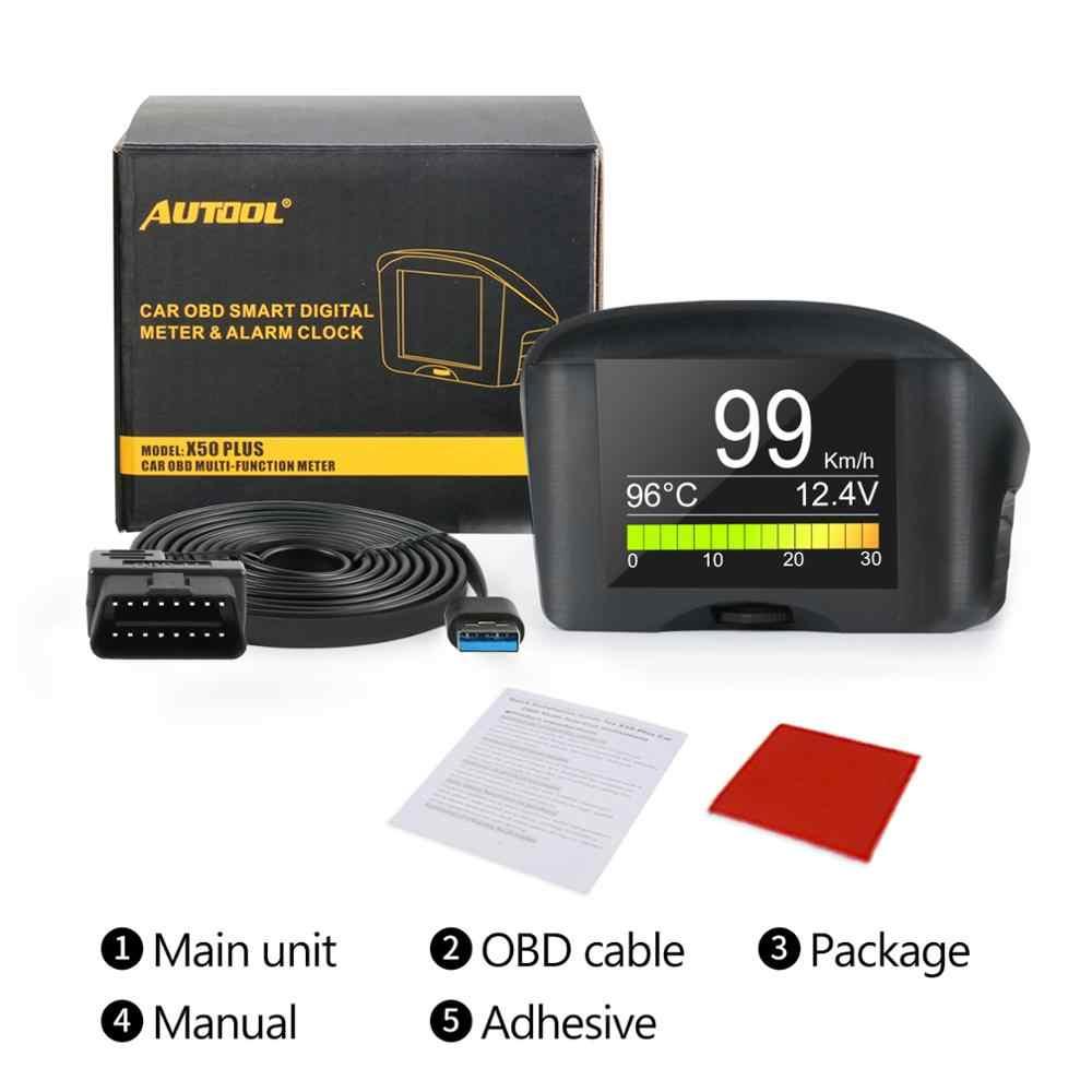 AUTOOL X50Plus 다기능 자동차 OBD 스마트 디지털 미터 알람 수온 게이지 디지털 전압 속도 측정기 디스플레이