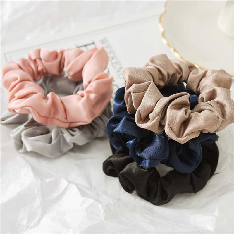 1Pc Solid Color Elastic Hair Ties For Girls Women Hair Rope Rings silk scrunchie Ponytail Holder Pink Black Hair Accessories
