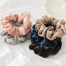 1Pc Solid Color Elastic Hair Ties For Girls Women Hair Rope Rings silk scrunchie Ponytail Holder Pink Black Hair Accessories(China)