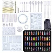 184 peças de silicone molde mix vara conta-gotas fecho diy jóias fazendo acessórios ferramentas moldes geométrica resina cola epoxy combinat