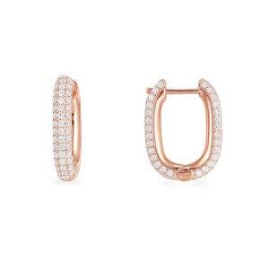 Image 1 - SLJELY boucles doreilles en argent Sterling 925, couleur or Rose, solide, bijou cerceau rectangulaire, zircone, pavé, à la mode, septembre