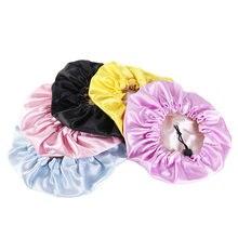 Touca de dormir para crianças, chapéu de cetim seda ajustável, camada dupla, turbante noturno, roupa de cabeça sólida