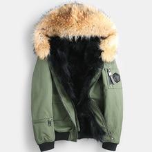 Мужское пальто из натурального меха енота, зимнее пальто, Мужская парка из натурального меха, Мужская одежда, короткая куртка размера плюс, Casaco YY866