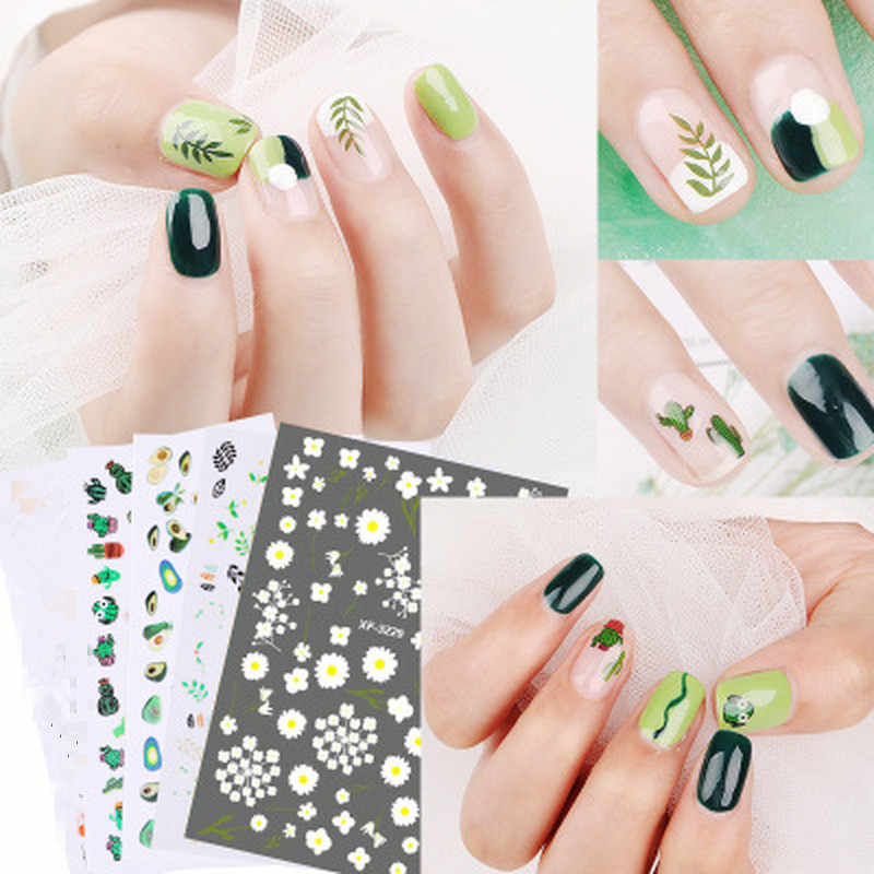 1 PCS Plant Cactus Avocado Water Decals Nail Sticker Green Plant Leaf Watermark Flakes Slider Tattoo Nail Art Decoration