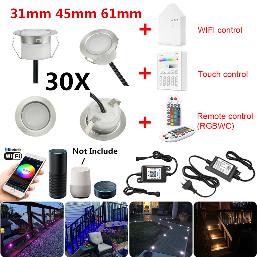 30X 5Pin RGBWW 31/45/61mm 12V IP67 Terrace LED Deck Stair Soffit Step Up Lights Kit WIFI Bluetooth Mesh Controller Timer Dimmer