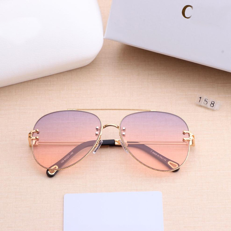 New Sunglasses Women 2019 Brand Designer SunGlasses Gradient Shades Clear Lens Ladies Metal Lace Frame Eyeglasses UV400 6 Colors