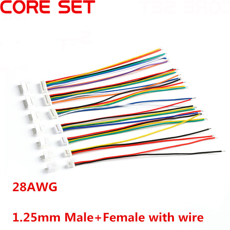 10Sets Male & Female Cable Connector XH 1.25 JST 2/3/4/5/6/7/8/9/10 Pin Single Head Plug With 10cm Electronic Wire Connectors