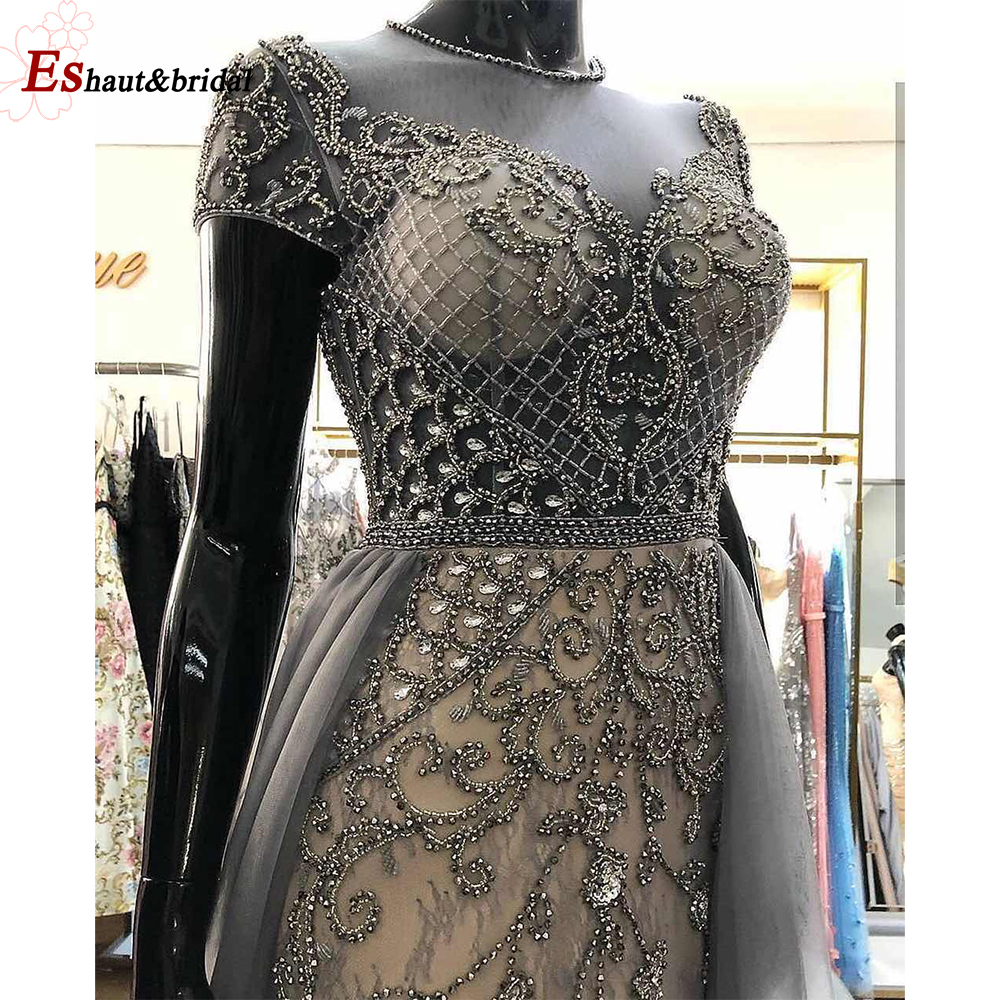Luxury Sexy O-Neck Evening Dress 2019 Cap Sleeves High-end Handmade Mermaid Tuttle Long Formal Party Gowns