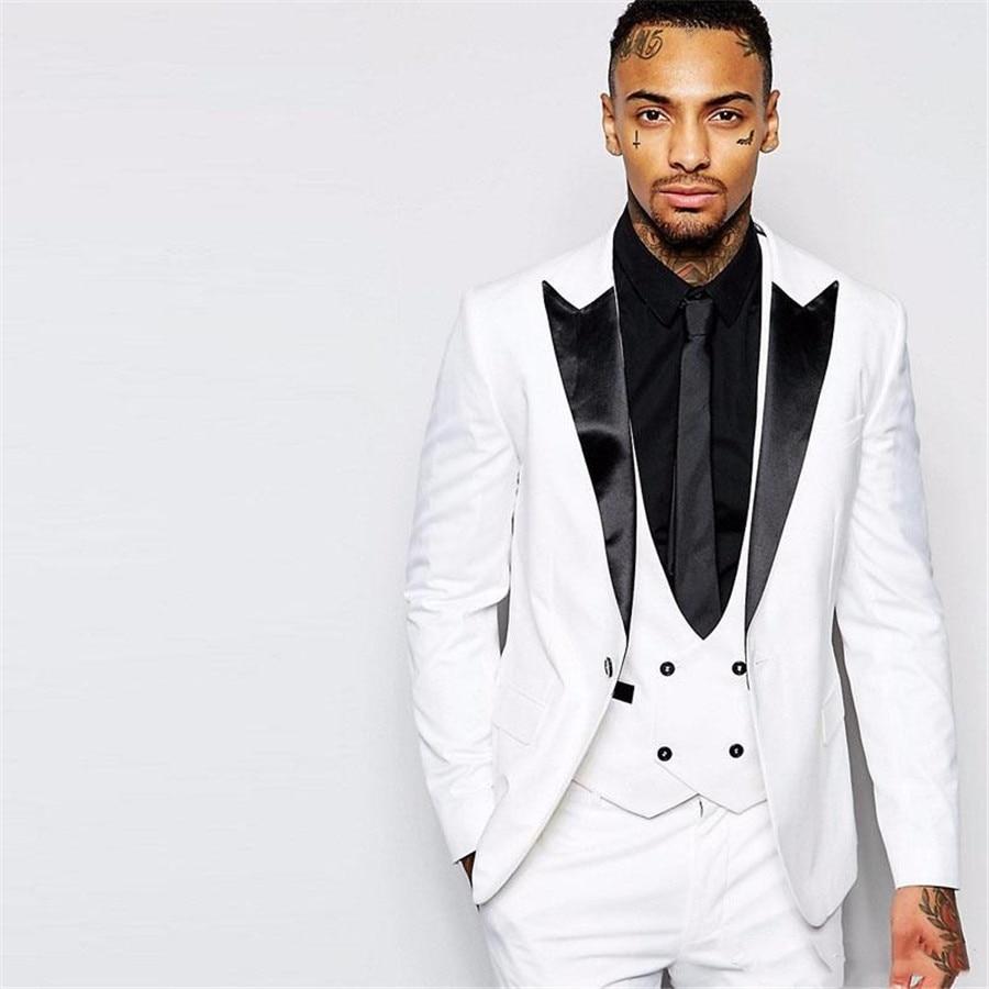 2020 One Button Trim Fit Groom Wedding Tuxedos Black Peaked Lapel Three Piece Business Suit For Men White (Jacket+Pants+Vest)